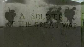 Memorial headstone to WWI soldier