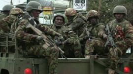 Kenyan military at the scene