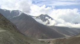 A glacier in India