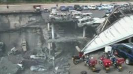 Collapsed multi-storey car park at the Westgate shopping complex