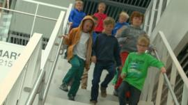 Children walking to class in Iceland