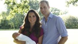 The Duke and Duchess of Cambridge with their baby, Prince George