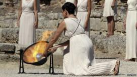 Olympic flame lit in Greece