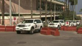 UN chemical weapons inspectors' cars leaving a Beirut hotel, 1 October 2013.