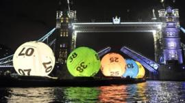 Lottery balls floating down the River Thames