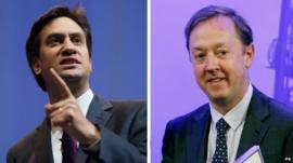 Ed Miliband (L) & Geordie Greig (R)