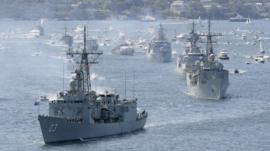 Royal Australian Navy warships enter Sydney Harbour