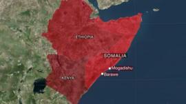 Map depicting Barawe, Somalia