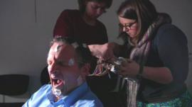 Dr Michael Mosley taking part in a sleep study