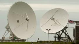Satellite dishes are seen at GCHQ's outpost at Bude
