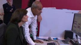 Cherie Blair works with George Alagiah