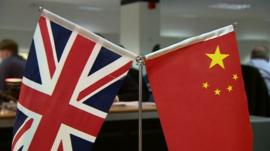 Chinese and Union flags