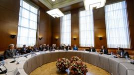 General view prior to the start of the two days of closed-door nuclear talks on Tuesday, Oct. 15, 2013 at the United Nations offices in Geneva,