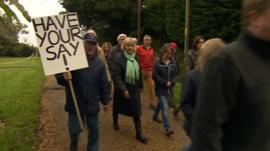 Protesters against plans for a new town in Mid Sussex