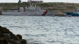 Coastguard ship in Mediterranean Sea