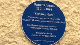 Blue plaque for Harold Cottam