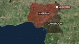 A map of Nigeria showing Logumani
