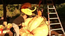 Artist carves giant pumpkin for exhibition in New York