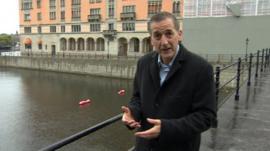 Chris Morris on a bridge