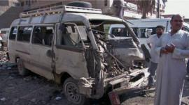 Destroyed front end of a minibus, Baghdad