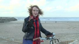 The BBC's Anna Holligan rides her bike
