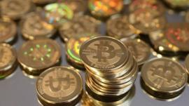 A pile of minted Bitcoins