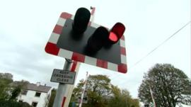 Level crossing at Four Lanes End crossing near Ormskirk, Lancs