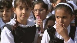 Girls in school playground, Sadr City