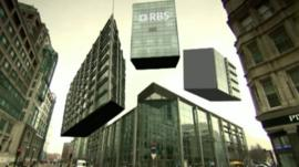 Graphic showing RBS headquarters in London divided into chunks