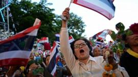 Thai opposition protesters wave national flags