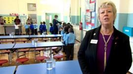 Anne Bull in school canteen