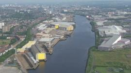 Aerial of shipyard in Scotland