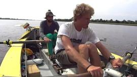 Antony Wright and Mark de Rond rowing the Amazon