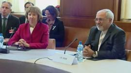 EU diplomat Catherine Ashton and Iranian Foreign Minister Mohammad Javad Zarif
