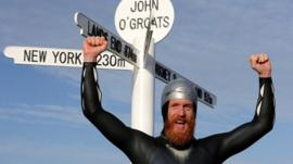 Sean Conway after swimming from Lands End to John O'Groats
