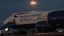 British Airways jumbo jet taking Red Cross aid to Philippines
