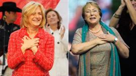 Evelyn Matthei + Michelle Bachelet