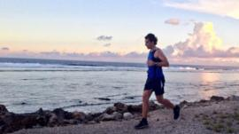 Mark Beaumont running in Nauru