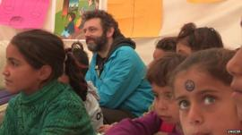 Michael Sheen meeting Syrian refugee children