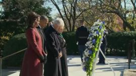 President Barack Obama, Michelle Obama, Bill Clinton and Hillary Clinton at JFK grave