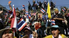 Anti-government protesters with flags