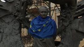 EU flag in Kiev