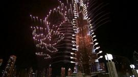 Fireworks around the Burj Khalifa