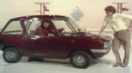 Valerie Singleton and John Noakes with the Enfield 8000 on Blue Peter