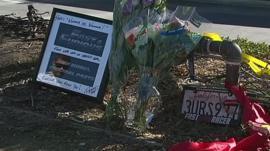 Memorial site where Paul Walker died in a car crash