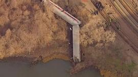 Derailed carriages in New York