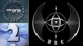 Idents for BBC One and BBC Two alongside the original one made for the BBC in 1953, known as the bat's wings