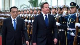 Prime Minister David Cameron is officially welcomed to Beijing by Chinese Prime Minister, Premier Li Keqiang
