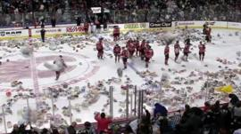 Ice rink covered in teddy bears