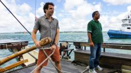 Mark Beaumont helms a Waka